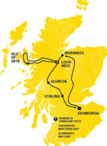 Map of the 3 day Haggis Adventures Tour, leaving from Edinburgh